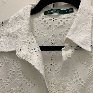 Ralph Lauren long sleeve eyelet blouse
